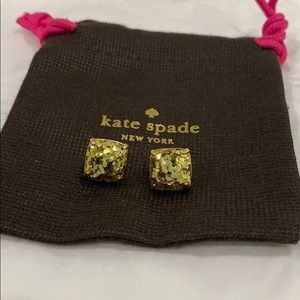 Kate Spade Gold Glitter Stud Earrings